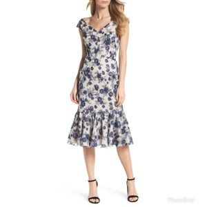GMG Rosemary Floral Embroidered Flounce Midi Dress